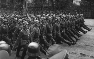 German soldiers goosestepping in Warsaw.