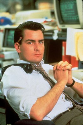 Charlie Sheen as Bud Fox in the movie Wall Street.